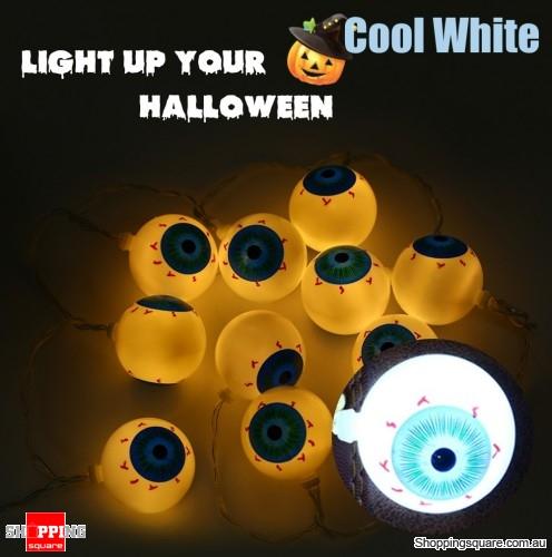 100cm 10-LED Halloween Eyeball Fairy String Lights for Party Home Decorative Lighting - Cool White