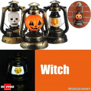 Halloween Pumpkin Skull Witch Lantern Lamp Light With Voice Laughter - Witch