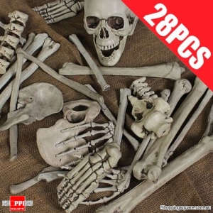 28PCS Set of Fake Human Skeleton Skull Bone Remains Corpse Grave for Haunted Halloween Decoration Props