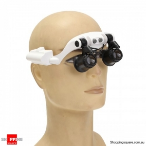 Portable Head Wearing Magnifying Glass LED Double Eye Repair Magnifier Loupe