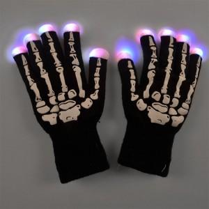 7-Mode Skeleton Bone Flashing LED Gloves for Halloween