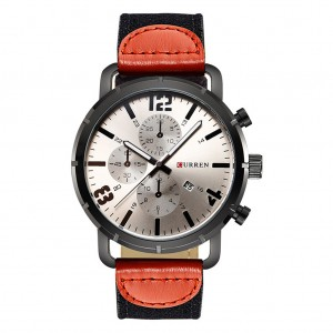CURREN 8194 Men's Calendar Army Sports Watch with Canvas Band - Gray Colour