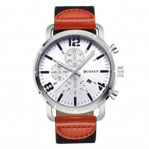 CURREN 8194 Men's Calendar Army Sports Watch with Canvas Band - White Colour