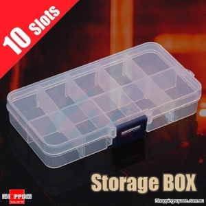10 Compartment Plastic Storage Box Jewelry Craft Container Organizer Case