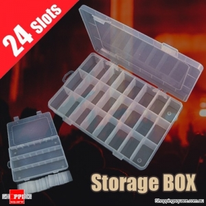 24 Compartments Slots Plastic Storage Box Container Organizer Case for Jewelry Craft