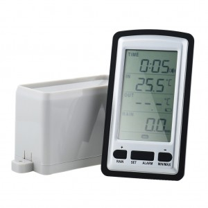 Wireless Weather Station Rain Gauge with Thermometer and Clock