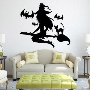 Horror Witch Wall Sticker for Halloween Decoration