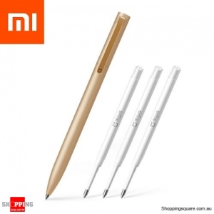 Xiaomi Mijia Metal Rollerball Sign Pen with 3 Refills - Gold Colour