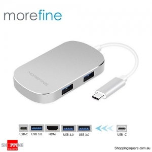 MOREFINE MHUB Ace 1 Type C to Type C+USB3.0+HDMI Docking Adapter - Silver Colour