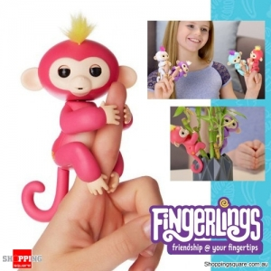 Fingerlings Baby Monkey Ape Interactive Motion Toy Electronic Pet for Kids - Red