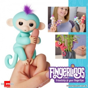 Fingerlings Baby Monkey Ape Interactive Motion Toy Electronic Pet for Kids -Green