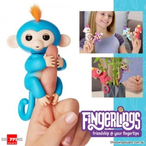 Fingerlings Baby Monkey Ape Interactive Motion Toy Electronic Pet for Kids - Blue