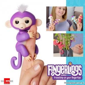 Fingerlings Baby Monkey Ape Interactive Motion Toy Electronic Pet for Kids - Purple