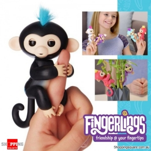 Fingerlings Baby Monkey Ape Interactive Motion Toy Electronic Pet for Kids - Black