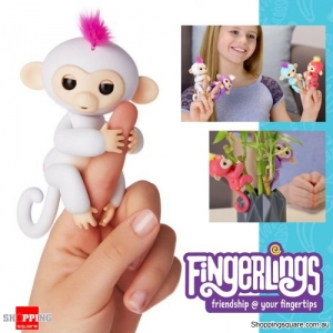 Fingerlings Baby Monkey Ape Interactive Motion Toy Electronic Pet for Kids - White