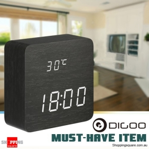 Digoo Wooden Multifunctional LED Digital Alarm Clock with 12 24 h Time Display Thermometer Voice Control - Black
