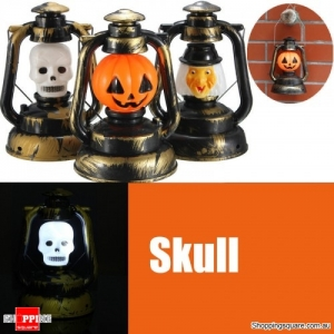 Halloween Pumpkin Skull Witch Lantern Lamp Light With Voice Laughter - Skull