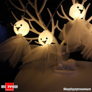 Battery Powered 1.65M 10LEDs Elf Ghost Indoor Fairy String Light For Halloween Warm White Colour
