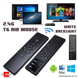 T6 2.4G Mini Wireless Fly Air Mouse Keyboard Remote Control for Android with White Backlight