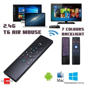 T6 2.4G Mini Wireless Fly Air Mouse Keyboard Remote Control for Android with 7 Colours Backlight