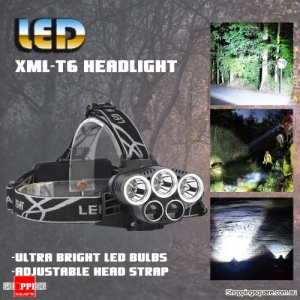 1500 Lumens 6 Switch Modes Adjustable HeadLight 3 x XML-T6 + 2 x LTS White Light