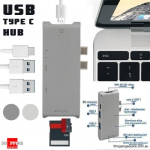 Dual Type-C To USB-C HDMI 4K  USB 3.0 SD Card Reader Adapter Hub for macbook Pro Gray Colour