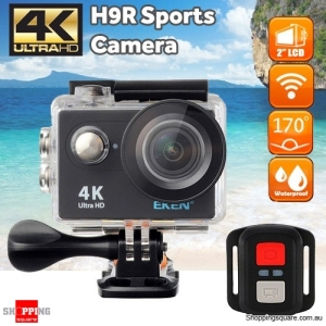 EKEN H9R Sports 170 Degree Wide Angle 4K Ultra HD Action Camera with 2.4G Remote WiFi Black Colour