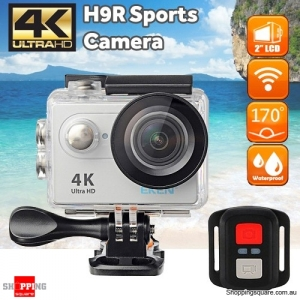 EKEN H9R Sports 170 Degree Wide Angle 4K Ultra HD Action Camera with 2.4G Remote WiFi Silver Colour