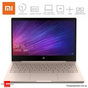 Genuine 12.5 Inch Xiaomi Mi Air Notebook Laptop with Windows 10 7th Intel Core m3-7Y30 4GB RAM 128GB SSD Gold Colour