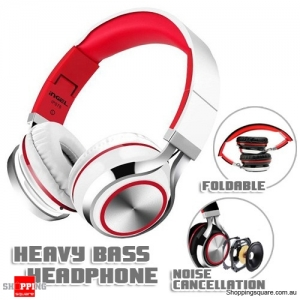 Foldable Heavy Bass Headphone Headset With Mic for Android Samsung iPhone 6 Tablet PC White & Red Colour