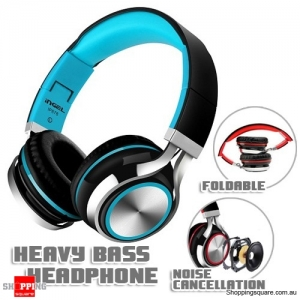 Foldable Heavy Bass Headphone Headset With Mic for Android Samsung iPhone 6 Tablet PC Black & Blue Colour