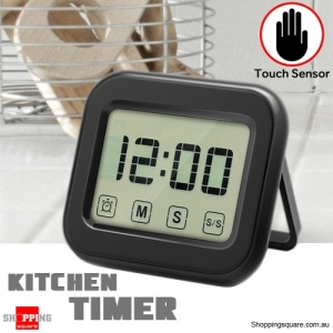 KITCHEN Digital Timer with LCD Clock Display Large Touch Sensor Magnetic Backing Loud Alarm