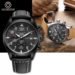 OCHSTIN Men's Waterproof Luminous Dials Quartz Watch with Genuine Leather Band  - Black & White Colour