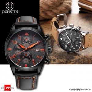 OCHSTIN Men's Waterproof Quartz Watch with Genuine Leather Band  - Black & Orange Colour