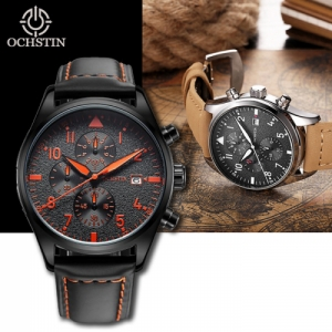 OCHSTIN Men's Waterproof Luminous Dials Quartz Watch with Genuine Leather Band  - Black & Orange Colour