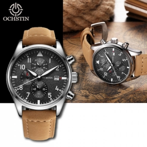 OCHSTIN Men's Waterproof Luminous Dials Quartz Watch with Genuine Leather Band - Khaki Colour