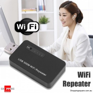 USB 300Mbps WiFi Signal Repeater Booster Black Colour