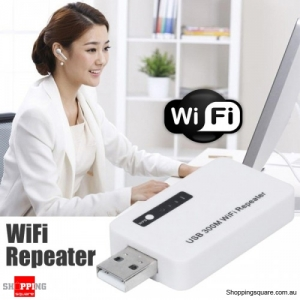 USB 300Mbps WiFi Signal Repeater Booster White Colour