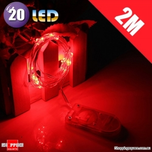 20 LED 2M Fairy Lights Lamp for Christmas Wedding Decoration Red Colour