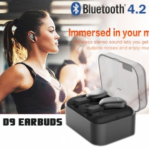 Syllable D9 TWS Bluetooth V4.2 Earphones Earbuds with Charging Box Black Colour