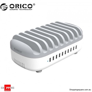ORICO 120W 10-Port USB Smart Charging Station with Stand for Phone & tablet (DUK-10P) - White Colour