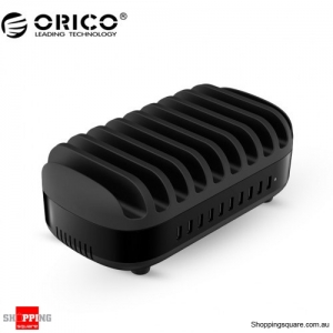 ORICO 120W 10-Port USB Smart Charging Station with Stand for Phone & tablet (DUK-10P) - Black Colour