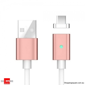 1M Magnetic Reversible Type C USB Charging Cable for Samsung Galaxy S8 Rose Gold Colour