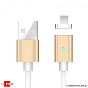 1M Magnetic Reversible Type C USB Charging Cable for Samsung Galaxy S8 Gold Colour