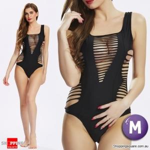 Women's  One-Piece U Neck Bandage Cut Out Monokini Swimsuit Beachwear Black Colour Size M