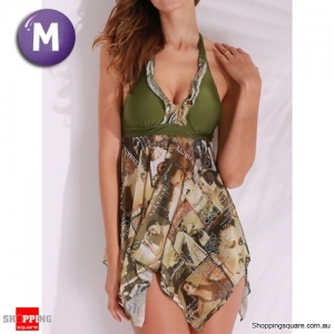 Graphic Halter Backless Wireless Boyshorts Asymmetric Beach Swimdress Swimsuit Green Colour M Size