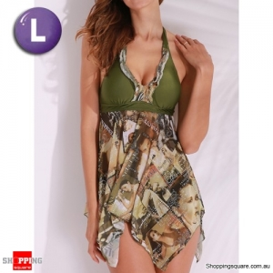 Graphic Halter Backless Wireless Boyshorts Asymmetric Beach Swimdress Swimsuit Green Colour L Size