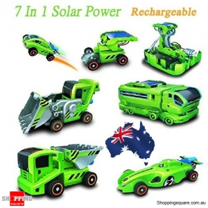 7 In 1 Solar Powered Rechargeable DIY Car Kit Bulldozer Racer Truck Vehicles Educational Toy AU Stock
