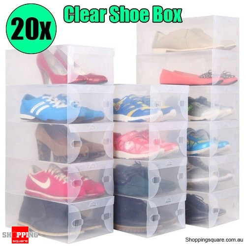 Set of 20PCS Transparent Plastic Foldable Shoe Storage Box AU Stock