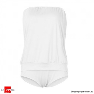 Strapless One Piece Swimwear High Elasticity Backless Swimsuit White Colour M Size